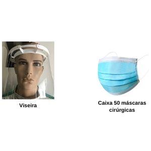 KIT Covid Básico (50 Máscaras Cirurgicas + 2 Viseiras)