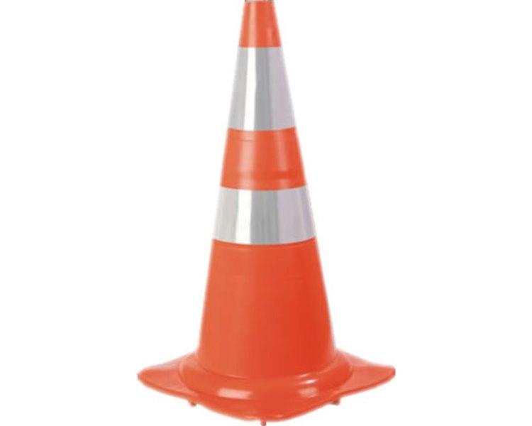 Cone de Sinalizacao Polietileno 50cm Com 2 Bandas Pintadas
